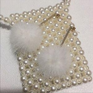 NWOT ASOS Fur Pompom Earrings